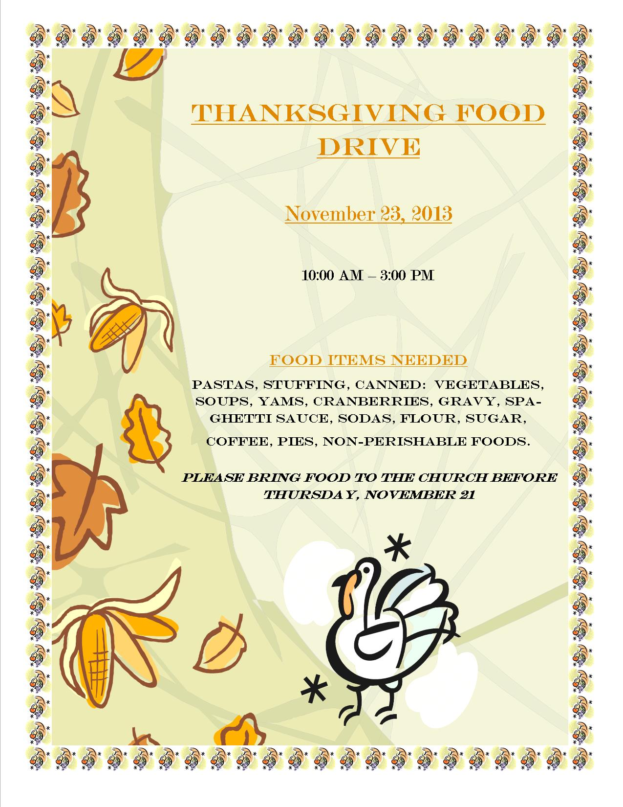 Thanksgiving Food Drive 2013 Sts Constantine Helen Cathedral – Food Drive Flyer Samples